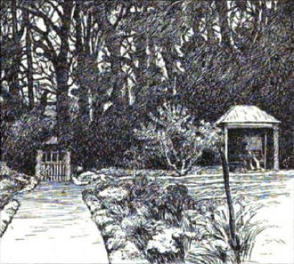 Farringford House - Sketch of poet Alfred Tennyson published one year after his death in 1892, seated in his favorite arbor at his Farringford House home in the village of Freshwater Bay, Isle of Wight