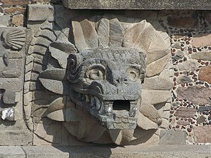 Quetzalcoatl - Feathered Serpent head at the Ciudadela complex in Teotihuacan