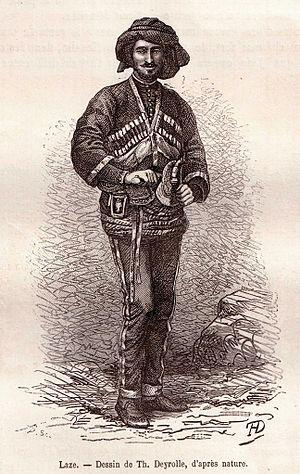 Drawing of a Laz in traditional costume, published in 1875. Theophile Deyrolle Le Tour du Monde 1875-84.jpg