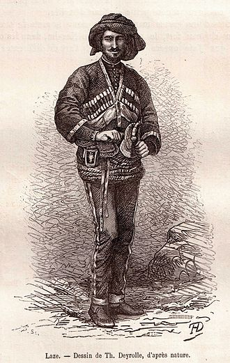 Théophile Deyrolle - Drawing of a Laz in traditional costume, published in 1875.