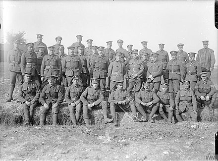 Soldiers of 149th (Northumbrian) Brigade. The first territorial brigade to see action in 1915, by the time this picture was taken in October 1916 it had suffered many casualties and been rebuilt with many non-Northumbrians. The Battle of the Somme, July-november 1916 Q1553.jpg