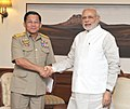 The Commander-in-Chief of Defence Services, Myanmar, Senior General Min Aung Hlaing calling on the Prime Minister, Shri Narendra Modi, in New Delhi on July 29, 2015.jpg