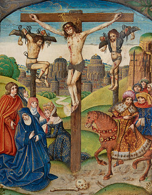 Crucifixion of Jesus - The Crucifixion. Christ on the Cross between two thieves. Illumination from the Vaux Passional, 16th Century