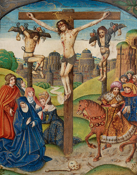 The Crucifixion. Christ on the Cross between two thieves. Illumination from the Vaux Passional, 16th century The Crucifixion Christ on the Cross between two thieves (f. 80) Cropped.jpg