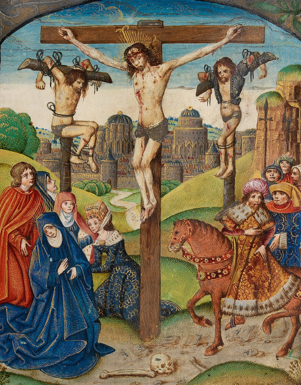 The Crucifixion Christ on the Cross between two thieves (f. 80) Cropped