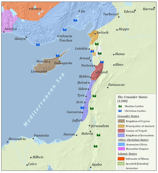 The Levant in 1200, after the Third and German (1197) Crusades The Crusader States (1200).jpg