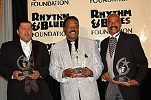 The Delfonics at The Rhythm & Blues Foundation in 2006 (L to R) Randy Cain, William Hart and Wilbert Hart
