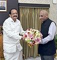 The Governor of Telangana, Shri E.S.L. Narasimhan calling on the Vice President, Shri M. Venkaiah Naidu, in Hyderabad on September 04, 2017.jpg