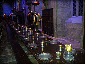 Hogwarts - The Great Hall film set at Leavesden studios.