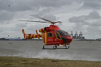 Essex & Herts Air Ambulance - G-EHEM landing in Harwich, Essex at the Charity's Motorcycle Run event.