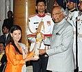 The President, Shri Ram Nath Kovind presenting the Padma Shri Award to Ms. Nouf Almarwaai, at the Civil Investiture Ceremony, at Rashtrapati Bhavan, in New Delhi on March 20, 2018.jpg