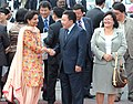 The President of Mongolia, Mr. Tsakhiagiin Elbegdorj being received by the Minister of State for External Affairs, Smt. Preneet Kaur at the Air Force Station Palam, in New Delhi on September 13, 2009.jpg