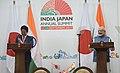 The Prime Minister, Shri Narendra Modi and the Prime Minister of Japan, Mr. Shinzo Abe at the joint press statement, during 12th India Japan Annual Summit, at Mahatma Mandir, in Gandhinagar, Gujarat on September 14, 2017 (1).jpg