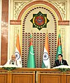 The Prime Minister, Shri Narendra Modi with the President of Turkmenistan, Mr. Gurbanguly Berdimuhamedov at the Press Statements, in Ashgabat, Turkmenistan on July 11, 2015.jpg
