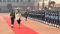 The Prime Minister of the Kingdom of Thailand, Ms. Yingluck Shinawatra, inspecting the Guard of Honour, at the ceremonial reception, at Rashtrapati Bhavan, in New Delhi on January 25, 2012.jpg