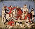 The Rani of Jhansi on horseback kills an Englishman with her sword, while one of (6125120682).jpg