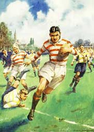 La Martiniere College - The Try, 1930s boys' comic illustration of play in a