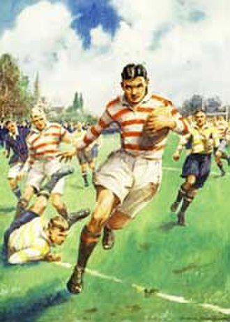 La Martiniere College - The Try, 1930s boys' comic illustration of play in a school rugby match