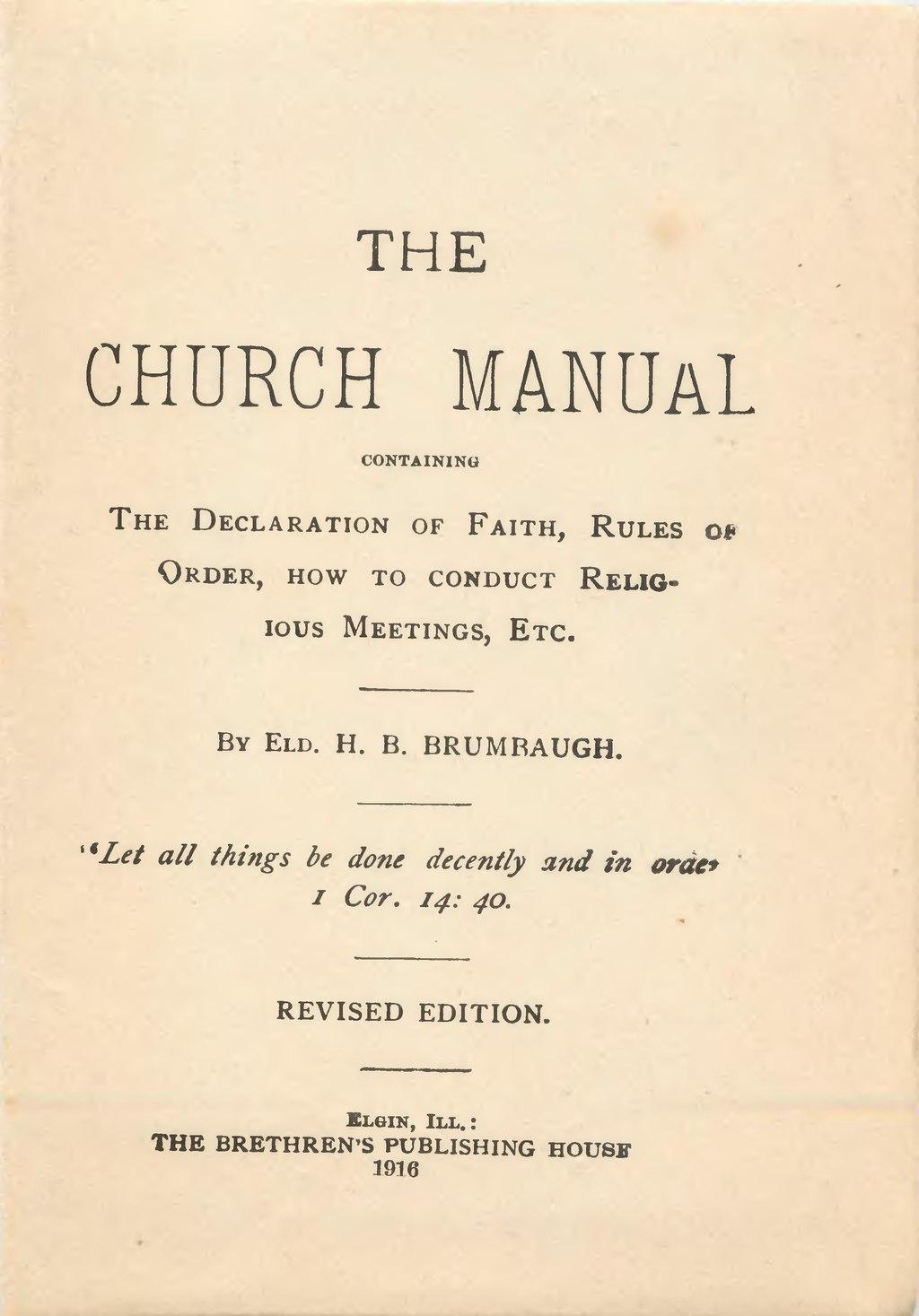 Page:The church manual (Church of the Brethren 1916) djvu/2
