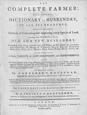 The Complete Farmer: Or, a General Dictionary of Husbandry - Title page of third ed. 1777.