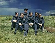 The crew of Lancaster AJ-T sitting on the grass, posed under stormy clouds