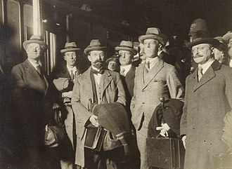 Erskine Childers (author) - Childers (second from left) together with other members of the negotiation team in December 1921