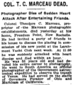 Theodore C. Marceau (May 28, 1859 - June 22, 1922) obituary in the New York Times on June 24, 1922.png