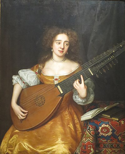 A 1670 painting of an English theorbo player. Theorbo-wright.jpg
