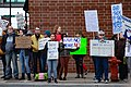 There is no Twitter in prison sign & others; protesters line Civic Center Drive in Downtown Rochester Minnesota during Trump's rally at the Mayo Civic Center (45069866612).jpg