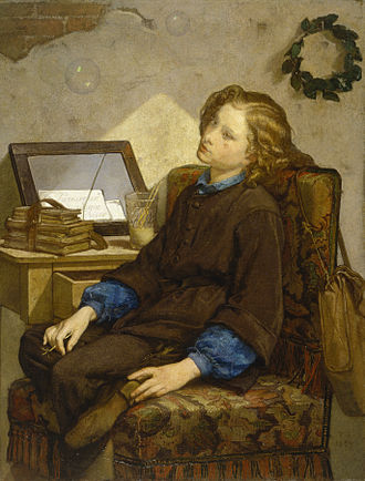 Vanity - In this painting Daydreams by Thomas Couture, the vice of vanity is shown through a boy blowing bubbles. The Walters Art Museum.
