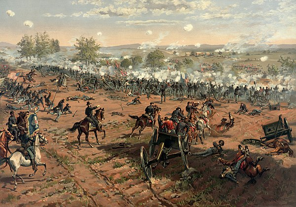 The Battle of Gettysburg, by Thure de Thulstrup. Thure de Thulstrup - L. Prang and Co. - Battle of Gettysburg - Restoration by Adam Cuerden (cropped).jpg