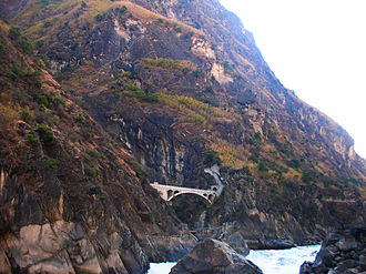 Tiger Leaping Gorge - A bridge opposite the gorge.
