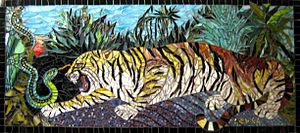 tiger and snake, mosaic - size 40×90 cm