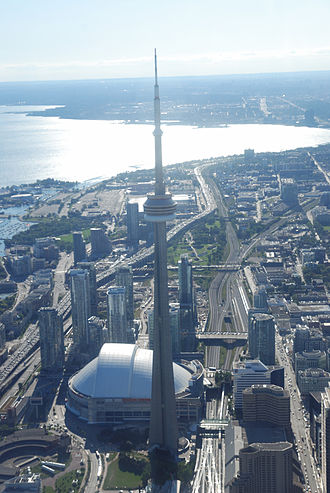 Railway Lands - Image: Toronto ON CN Tower from Heli