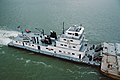 Towboat V.W. Meythaler upbound at Clark Bridge Louisville Kentucky USA Ohio River mile 604 1987 file 87j068.jpg