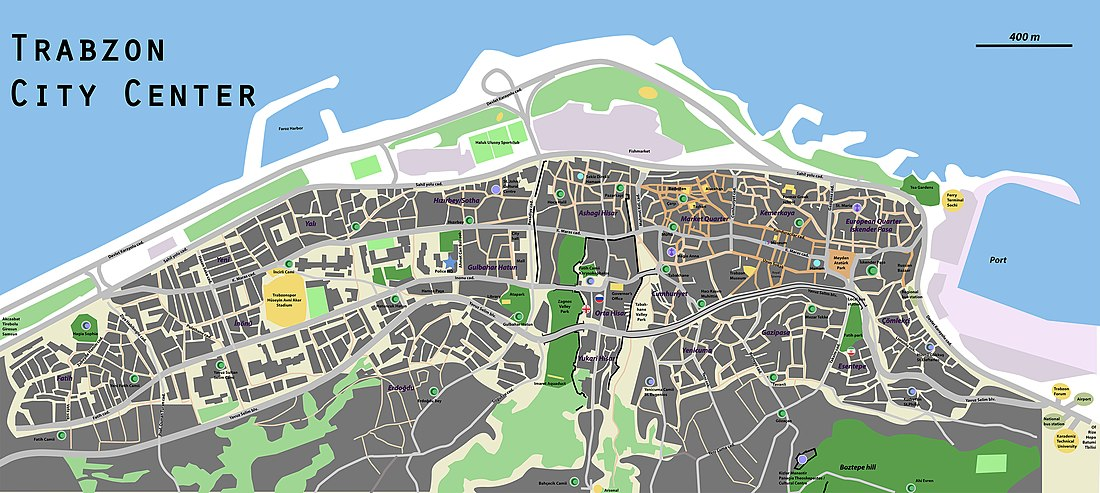 Map of Trabzon's city centre, showing its walls, main streets, sights and parks.