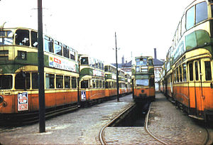 Glasgow Corporation Tramways - Glasgow trams in 1962, shortly before final withdrawal of services (Cunarder on the left, Coronation in middle row)