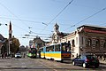 Trams in Sofia in front of Central Market Hall 2012 PD 11.JPG