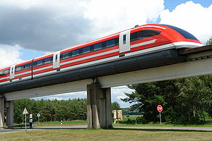 Transrapid - Transrapid 09 at the Emsland test facility in Germany.