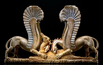 Ascoli Satriano - Polychrome marble carving (4th century BC) of two griffins devouring a deer. Formerly at the Getty Museum, now at The Museum Center of Ascoli Satriano.