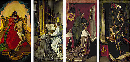 The Trinity Altarpiece, attributed to Flemish artist Hugo van der Goes for the Trinity College Kirk in Edinburgh, Scotland, in the late fifteenth century Trinity Altarpiece.jpg