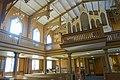 Tromsø Cathedral (domkirke) Norway interior. Gallery, Claus Jensen organ (orgel) 1863, ceiling, chandeliers, timber roof truss, pillars, etc Wooden Gothic Revival style church 1861 Chr. H. Grosch 2019-04-04 DSC02275.jpg