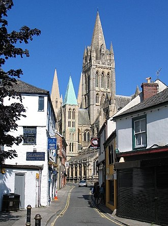 Christianity in Cornwall - Truro Cathedral from St Mary's Street