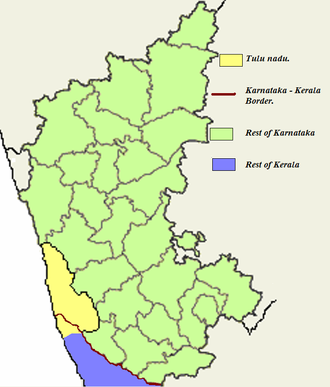 Tulu Nadu state movement - Tulu Nadu in yellow with respect to rest of Karnataka (green) and Kerala (purple)