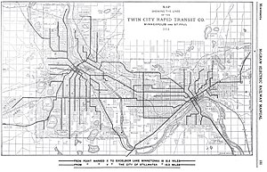 Twin City Rapid Transit Company - Route map 1914