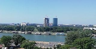 Ušće Towers Skyscraper in Belgrade, Serbia