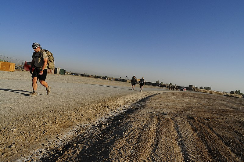 File:U.S. Army Capt. Erik Hickly, foreground, and other members of the Farah Provincial Reconstruction Team participate in a nine-mile rucksack march Sept 120911-N-II659-690.jpg