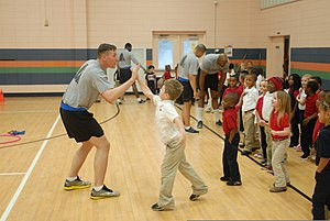"American Heart Association - Jump Rope for Heart, pictured in 2014. Volunteers with the 6th Squadron, 8th Cavalry Regiment assisted the students in celebrating the end of the school's fundraising event, ""Jump Rope for Heart"", to raise funds for the American Heart Association."