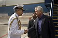 U.S. Defense Secretary Chuck Hagel shakes hands with a Peruvian military official who welcomes him to Arequipa, Peru 141012-D-DT527-060d.jpg