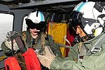 U.S. Navy Chief Naval Air Crewman Julio Grullon, right, trains Naval Air Crewman 3rd Class Curtis Kuchera on search and rescue procedures during simulated operations on an MH-60S Seahawk helicopter attached to 140311-N-GR655-499.jpg